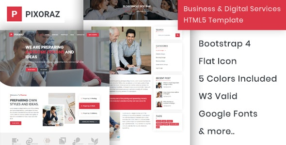 Pixoraz - Business & Digital Services HTML5 Template - Business Corporate