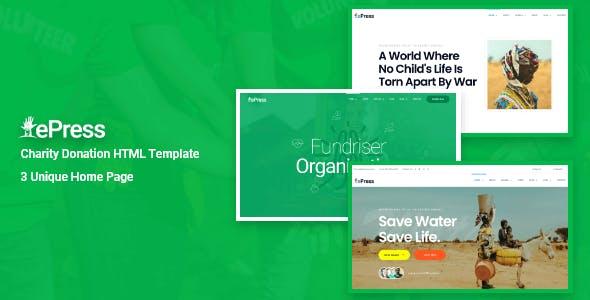 ePress - Charity & Fundraising HTML Template