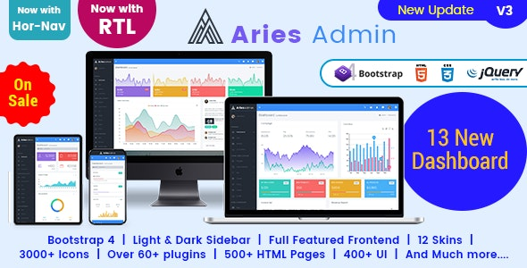 Aries Admin - Responsive Bootstrap 4 Dashboard Template - Admin Templates Site Templates