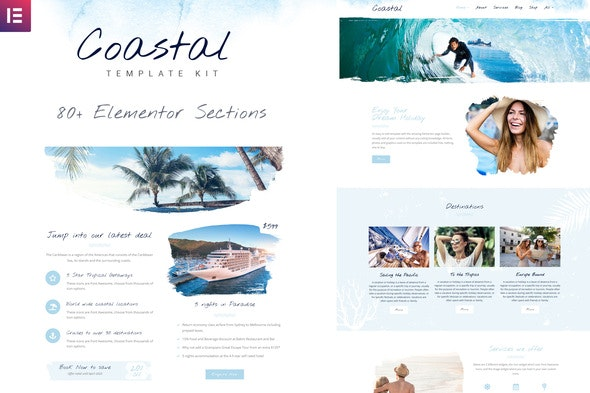 Coastal Travel and Surf Grunge Template Kit - Template Kits