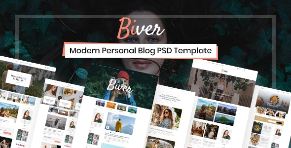 Biver  -  Modern Personal Blog PSD Template - Personal PSD Templates