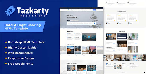 Tazkarty - Hotel & Flight Booking HTML Template