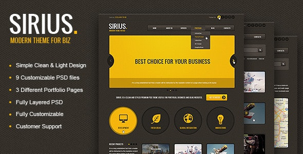 Sirius - Clean Style Portfolio PSD Template - Creative Photoshop