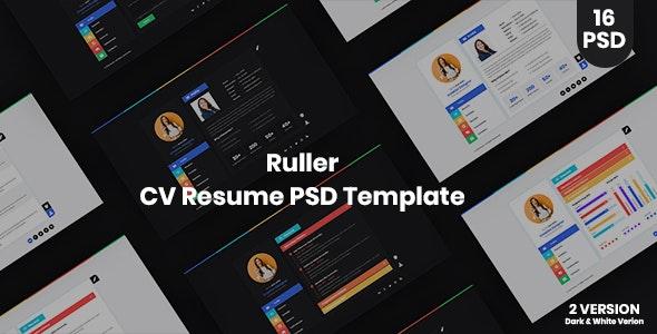 Ruller - CV Resume Vcard PSD Template - Personal PSD Templates