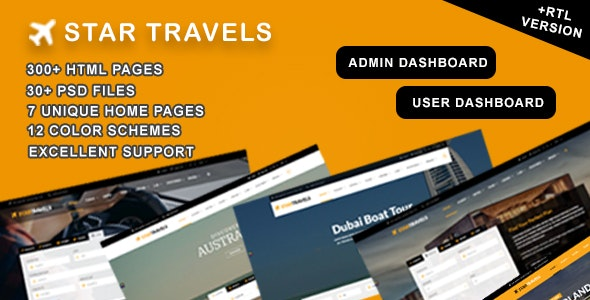 Star Travel - Travel, Tour, Hotel Booking & Admin Dashboard HTML5 Template - Travel Retail