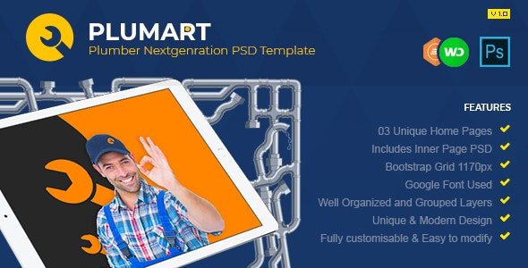 Plumart - Plumber Services PSD Template - Business Corporate