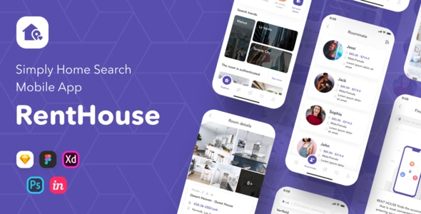 RentHouse - Simply Home Search Mobile App - Sketch Templates