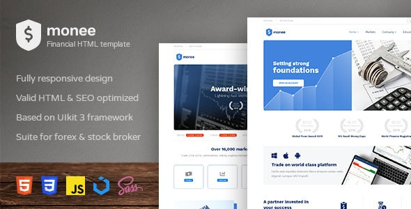 Monee - Forex and Stock Broker HTML Template - Business Corporate