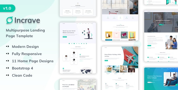 Incrave - Creative Landing Page Template - Creative Site Templates