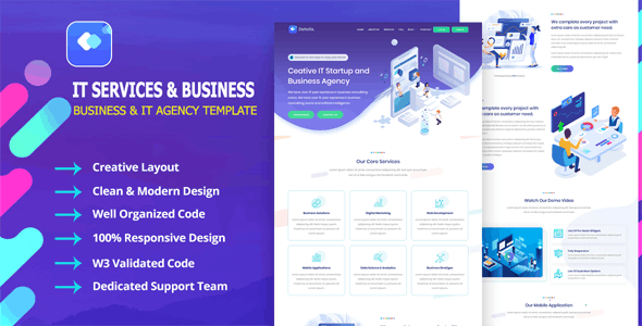 Detotrix - IT Startup Agency & Business Template - Business Corporate