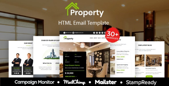 Property - Multipurpose Responsive Email Template 20+ Modules - Mailster & Mailchimp - Newsletters Email Templates