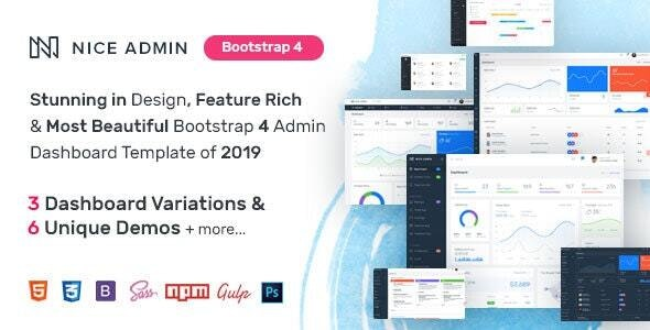 Nice Admin - Bootstrap 4 Dashboard Template - Admin Templates Site Templates
