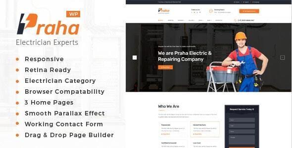 Praha - Electrician Experts WordPress Theme - Business Corporate