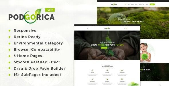 Podgorica - Environment and Renewable Energy WordPress Theme - Environmental Nonprofit
