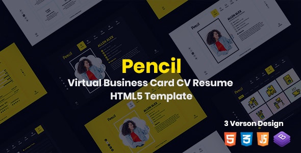 Pencil- Virtual Business Card CV Resume HTML Template - Virtual Business Card Personal