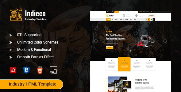 Indieco - Factory & Industry HTML Template - Business Corporate