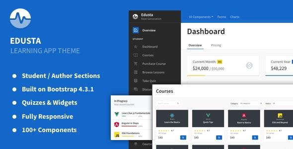 Edusta - Learning App & Education Admin Theme - Admin Templates Site Templates