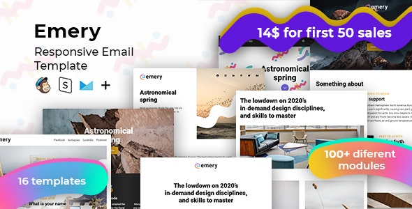Emery – 100+ Responsive Modules + StampReady, MailChimp & CampaignMonitor Compatible Files - Email Templates Marketing