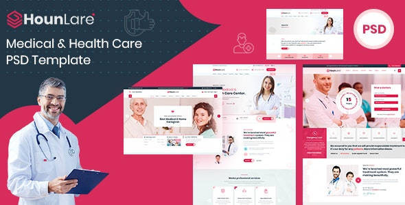 HounLare | Medical & Health Care Services PSD Template - Health & Beauty Retail