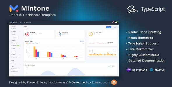 Mintone Reactjs Admin Template - Admin Templates Site Templates