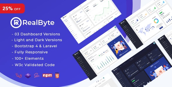 RealByte - Bootstrap 4 + Laravel Admin Dashboard Template - Admin Templates Site Templates