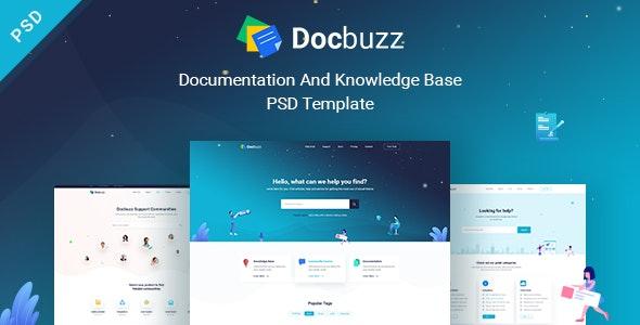 Docbuzz - Documentation And Knowledge Base PSD Template - Technology PSD Templates