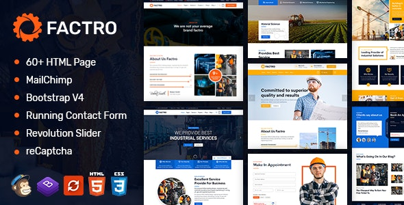 Factro : Industrial Multipurpose HTML Template - Business Corporate
