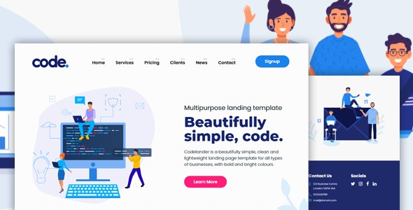 CODELANDER - Multi-Purpose HTML Landing Page Template for Business and Startups - Corporate Landing Pages