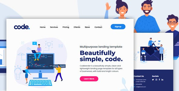 CODELANDER - Multi-Purpose HTML Landing Page Template for Business and Startups