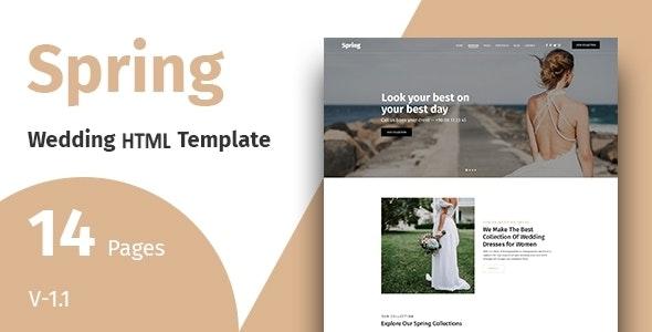 Spring - Wedding Dress HTML Template - Wedding Site Templates