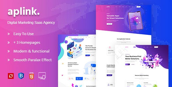 Aplink - Creative HTML5 Template for Saas, Startup & Agency