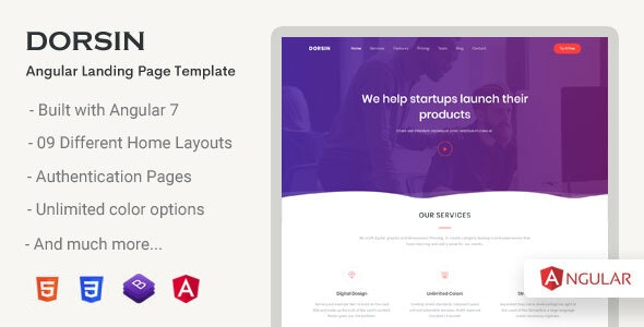 Dorsin - Angular Landing Page Template - Corporate Site Templates
