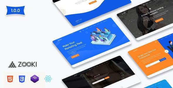 Zooki - ReactJs Landing Page Template - Corporate Site Templates