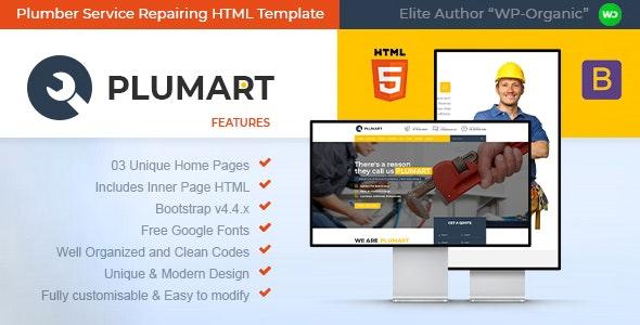 Plumart - Plumber Service Repairing HTML Template - Business Corporate