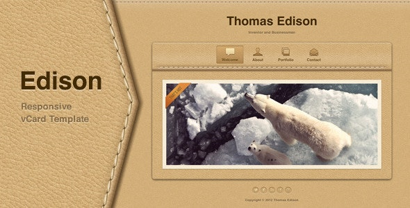 Edison - Responsive vCard Template - Virtual Business Card Personal
