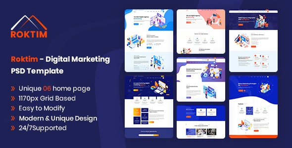 Roktim - Digital Marketing PSD Template - Marketing Corporate