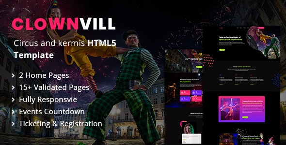 Clownvill | Circus and Fairs Responsive HTML5 Template - Entertainment Site Templates