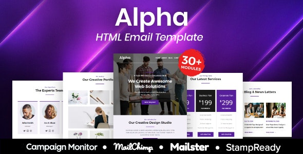 Alpha - Multipurpose Responsive Email Template 20+ Modules - Mailster & Mailchimp - Newsletters Email Templates