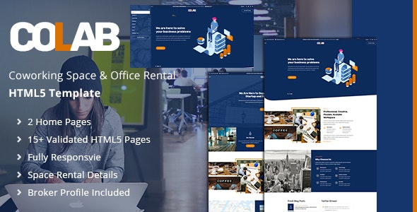 Colab | Responsive Coworking Space HTML5 Template - Business Corporate