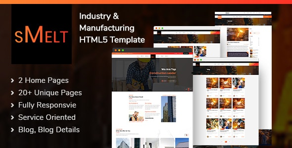Smelt | Industry and Manufacturing Responsive HTML5 Template - Corporate Site Templates