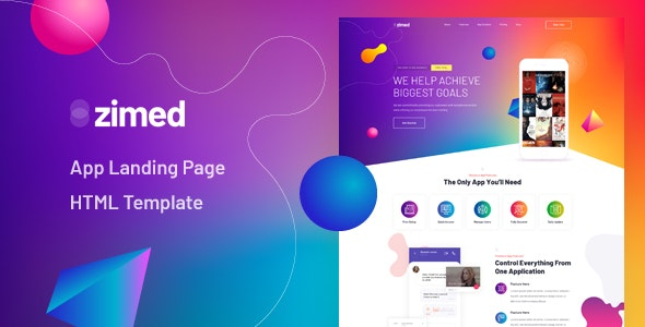 Zimed - App Landing Page HTML Template - Technology Site Templates