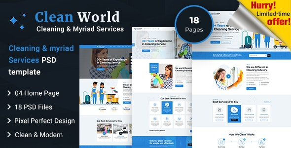 Clean World | Cleaning and Myriad Service PSD Template - Business Corporate