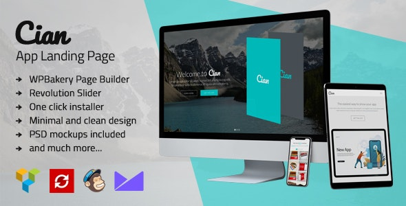 Cian - App Landing Page WordPress - Software Technology