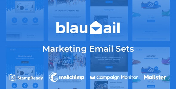 Blaumail - Marketing Email Sets + Notification Pack - Newsletters Email Templates