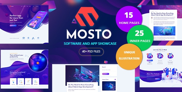 Mosto - Software and App Landing Pages PSD Template - Software Technology