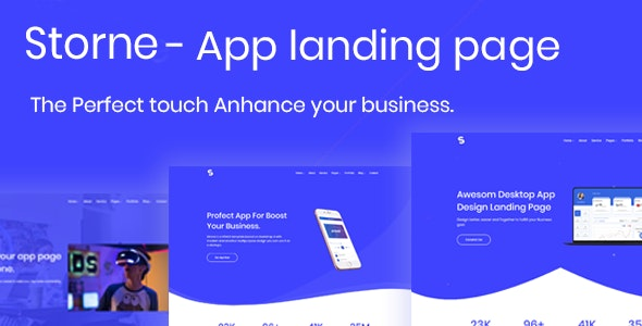Storne - App Landing Page - Technology Site Templates