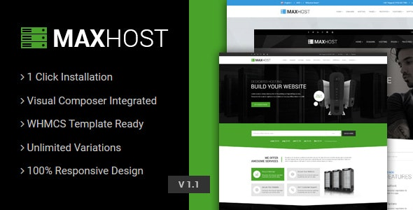 MaxHost Web Hosting WHMCS and Corporate Business WordPress Theme with WooCommerce