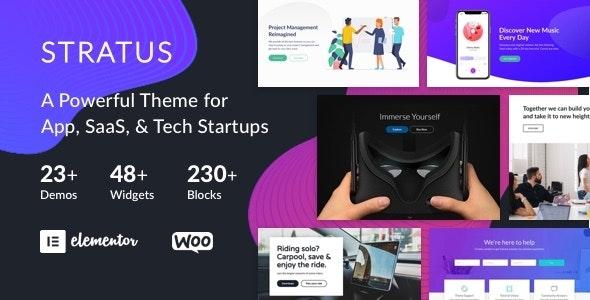 App SaaS & Software Startup Tech Theme Stratus