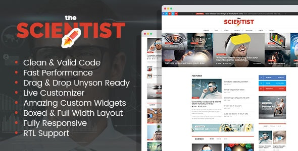 The Scientist - innovations and research news magazine WordPress theme - News / Editorial Blog / Magazine
