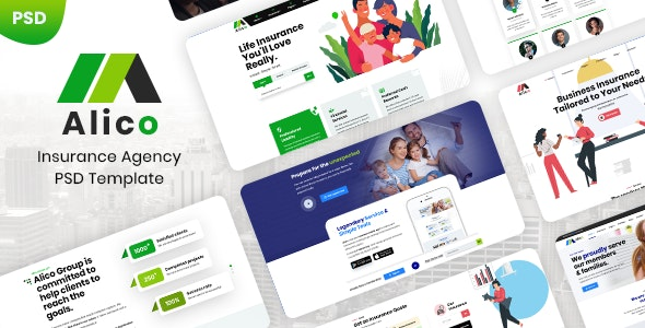 Alico - Insurance PSD Template - Business Corporate